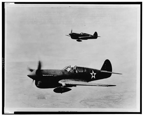 HistoricalFindings Photo: Aerial View,P-40 Single Engine Fighter Planes,Airplanes,World War,WWII,1943