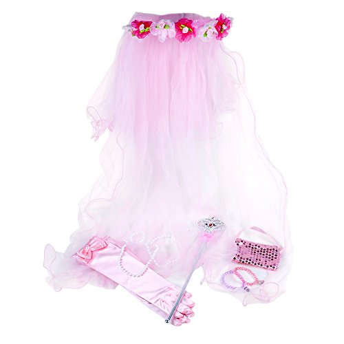 [SmitCo LLC Girls Dress Up Accessories, Pink Play Princess Set For Little Girls, Including Veil, Gloves, Bracelets, Necklace, Wand And Purse In Either Pink, Purple Or] (Unique Toddler Girl Halloween Costumes)