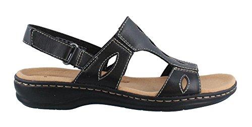 CLARKS Women's Leisa Lakelyn Flat Sandal Black Leather 7 W ()