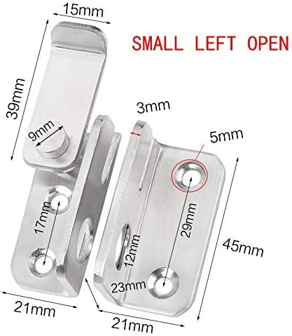 Color: Small Left Open 1pcs Stainless Steel Buckle Latch for Sliding Door Security Window Cabinet Home Hardware Accessories Door Hotel Home