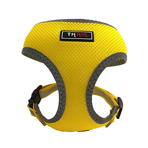 (THAIN Reflective Comfort & Control Dog and Cat Vest Mesh Harness 6-10 lbs No Pull No Choke Design Padded Eco-Friendly for Puppy Dog and cat (S, Yellow))