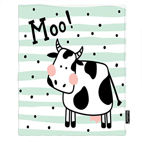 - Moslion Cow Blanket Cute Farm Animal Black White Milk Cow in Green Stripes Polka Dot Spot Throw Blanket Flannel Home Decorative Soft Cozy Blankets 40x50 Inch for Baby Kids Pet