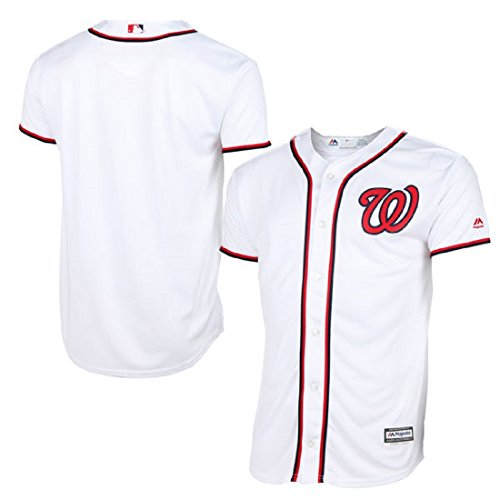 Jersey Nationals Youth Home Washington (Washington Nationals Blank White Youth Cool Base Home Replica Jersey (Medium 10/12))