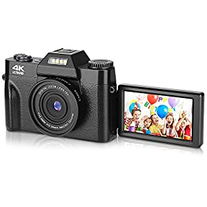 """Best Epic Trends 41gB2fB%2BViL._SS300_ BZK CT-2 Digital Camera, 4.0K 48MP Full HD Camera, Vlogging Camera, 16X Digital Zoom and 3.0"""" Inch 180 Degree Rotation Flip Screen for Video and Photography (Black)"""