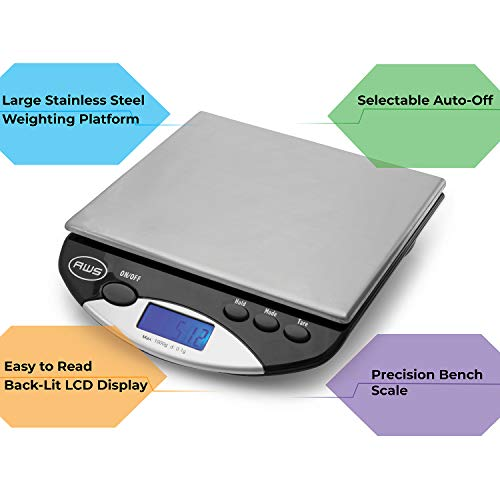 AMERICAN WEIGH SCALES AMW Series Precision Digital Kitchen Scale, Stainless Steel, 1000G x 0.1G (AMW-1000)