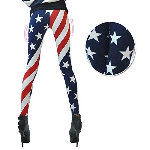Leggings Pants for Women Digital Print Stars Stripes LeggingPant02