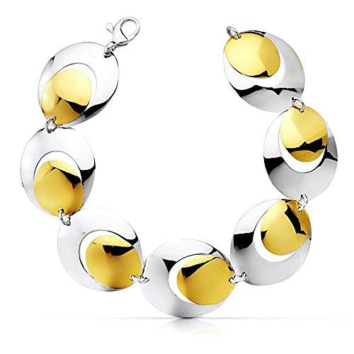 Bracelet 18k bicolor or 19cm de large liens. [AB2282]