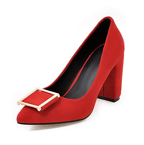 Odomolor Women's Pu Pull-On Pointed-Toe High-Heels Soild Pumps-Shoes Red m9C5cW0