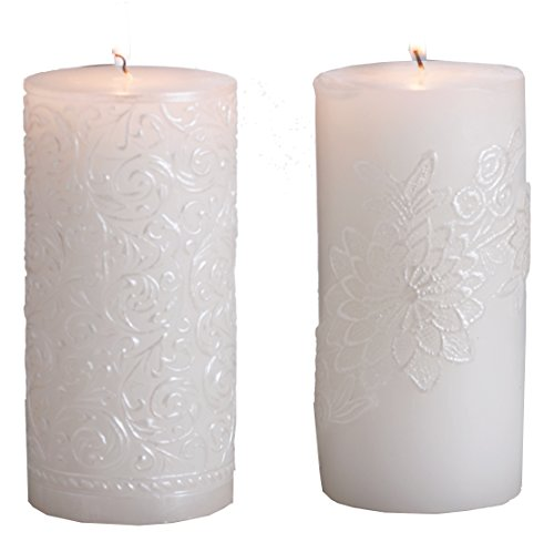 Biedermann & Sons White Pearl Pillar Candle, 3 by 9-Inch, Gold Brushed ()