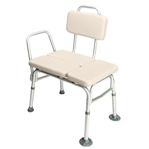 MallMall Medical Aluminium Alloy 6 Height Adjustable Bathroom Tub Bath Shower Transfer Bench with Backrest & Arms Shower Chair Accessibility Aid for Seniors Elderly Baby Bathtub Lift Chair by Mallmall