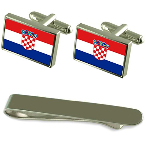 Croatia Flag Silver Cufflinks Tie Clip Engraved Gift Set by Select Gifts