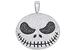 Black & White Natural Diamond Skellington Face Pendant