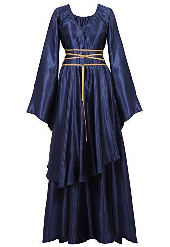 Women's Costume Renaissance Irish Medieval Dress Vintage Floor Length Cosplay Costume Retro Long Dress Blue XL]()
