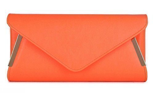 HAND TRIM Neon BRIDAL LADIES GOLD PROM NEW EVENING SIDE PARTY BAG CLUTCH Orange ENVELOPE BUvBxqF