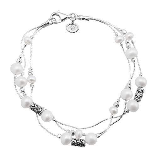 Silpada 'California Dreaming' 4-4.5 mm & 5-5.5 mm Freshwater Cultured Pearl Triple-Strand Chain Bracelet in Sterling Silver, 7.5