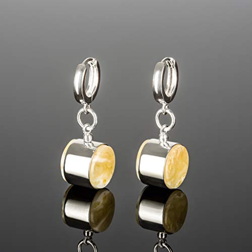 (Handmade Silver Earrings for Women with Baltic Amber)
