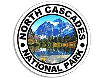 MAGNET Round NORTH CASCADES National Park Magnet(wash washington wa rv hike) Size: 4 x 4 inch