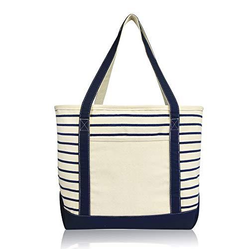 DALIX Medium Stripe Tote Deluxe Shoulder Bag Cotton Canvas in Navy Blue