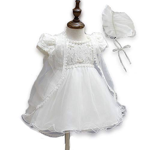 - 0-6 Months Newborn Baby Girls Baptism Dresses Beaded Embroider Details with Bonnet Lace Cape Gown for Blessing Day Off-White Color