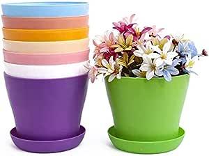 TOKERD 10 Piezas Macetas de Plástico con Plato Coloridas 14cm Macetas de Plantas de Interior y de Exterior para Oficina u Hogar: Amazon.es: Hogar