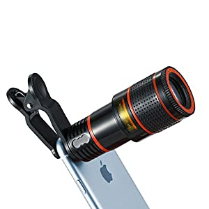 Cell Phone Lens, 12X Optical Zoom Universal High Definition Focus Telephoto Lens with Universal Clip for iPhone, Samsung Galaxy, HTC, Sony, LG & Most Smartphones Ipad Tablet PC Laptop
