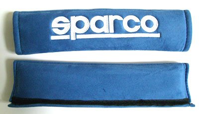 Sparco (2 Inch) Alcantara Memory Foam Blue Color Seat Belt Shoulder Harness Pad (Part: - Foam Sparco