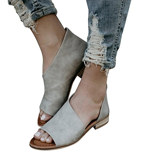 FISACE Women Slip On Fashion Cut Out Peep Toe Low Heel Ankle Booties