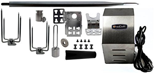 "OneGrill Heavy Duty Stainless Steel Universal Grill Rotisserie Kit (Stainless Steel, 45"" X 5/8"" Hexagon Spit Rod)"