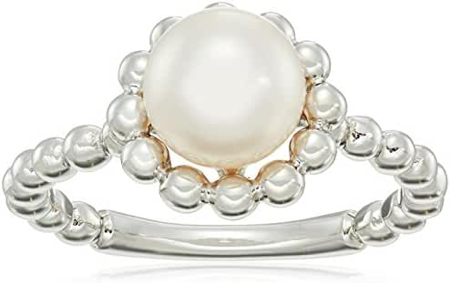 7.5-8mm Natural Color Akoya Cultured Pearl Sterling Silver Beaded Ring, Size 7