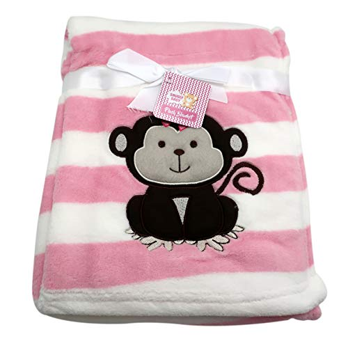 Baby Blanket w/Embroidery Monkey Applique   Perfect for Infant & Toddlers, Boys & Girl, Extra Soft 30 x 40 in.   Ideal for Travel, Stroller, Nursery (Pink)
