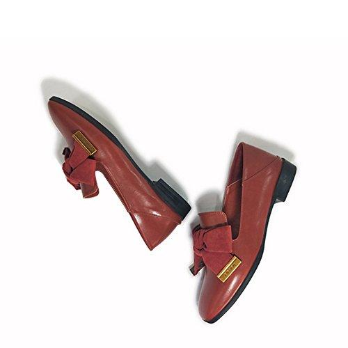 T-juli Kvinnor Retro Oxfords Skor - Bekväma Låg Klack Kvadratisk Tå Bowknot Fritidsskor Röda