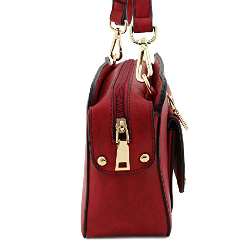 Faux Leather Bag Red Square Crossbody rwaqgrz