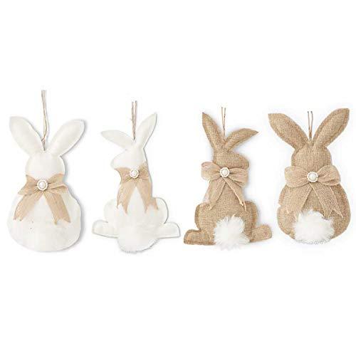 K&K Interiors Hanging Easter Bunny Burlap Ornaments - Easter Brunch, Holiday Decoration, Photography Prop (Burlap) -