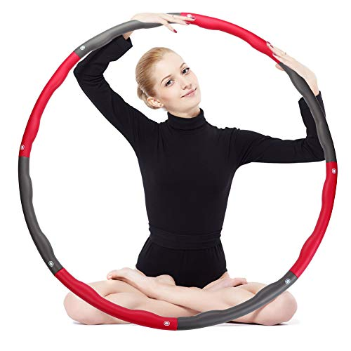 OPLIY Hula Hoop,Weighted Exercise Hula Hoop-2.2 lb for Women Kids, Adjustable 8 Detachable Sections Weight Loss Fitness Hula Hoop for Exercise Workout