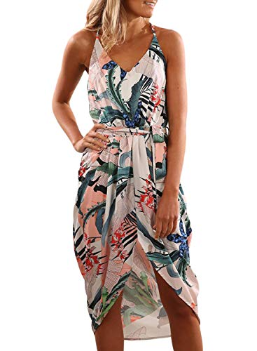 Dearlove Womens Sexy V Neck Spaghetti Strap Sleeveless Floral Printed Loose Split Summer Beach Casual Maxi Dress Blue Plus Size XL