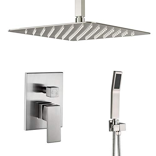 Artbath Brushed Nickel Shower System-12 Inch Ceiling Mount Shower Faucet Set with Rain Showerhead and handheld,Shower Faucet Rough-In Valve Body and Trim Included,Luxury Rain Shower Set Ceiling Mount Tub Faucet