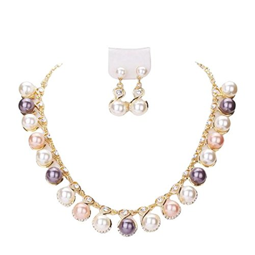 LuminosityLux Jewelry Sets, Colorful Pearl Necklace Earrings Sets, Women (Multicolor)