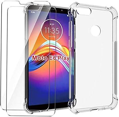 HYMY Funda para Motorola Moto E6 Play Smartphone + 2 x Cristal ...