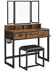 VASAGLE Dressing Table, Dressing Table met 3-delige klapspspiegel, Haardroger Houder, Cosmetische Tafel met gestoffeerde kruk, 3 lades, industrieel ontwerp, vintage bruin-zwart RVT004B01