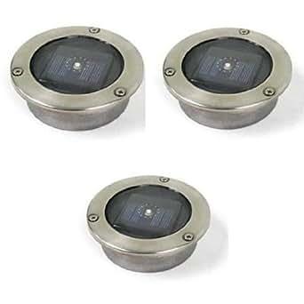 Captelec - Focos solares LED para encastrar en suelos de exteriores (3 unidades)