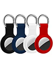 HATALKIN Case Compatible with Air Tags Case Keychain Air tag Holder Air Tag Key Ring Cases Air Tags Protective Cover Key Chain Loop Holders Silicone for Luggage Dog Cat Pet Collar 4 Pack