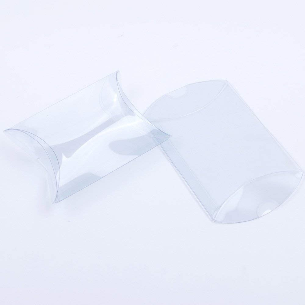 US Wedding Favors/® 4.0 x 2.5 x 0.75 50pcs Clear Plastic Pillow Box Mini Gift Candy Treat Transparent Packing Box Party Favors