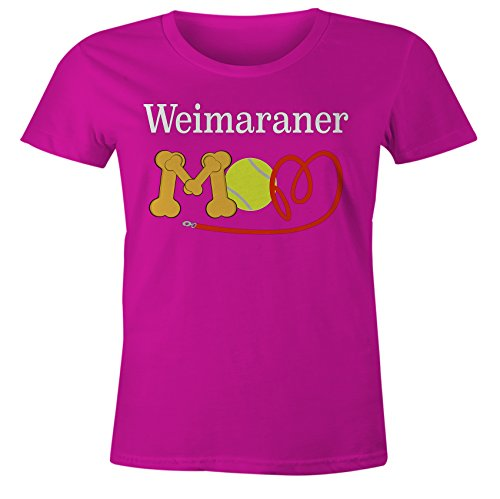 Funny Weimaraner Mom Dog Breed T-Shirt - Pink Form Fitting - MD