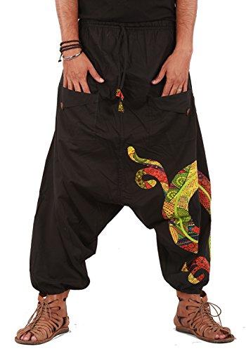THS Mens Harem Pants with Patchwork Design (Black)