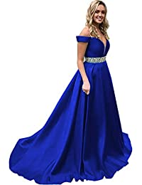Off Shoulder Prom Dresses Long Ball Gowns Satin Beaded A Line Formal Dress for Women