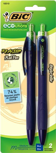BIC ECOlutions ReAction Ball Pen, Medium Point (1.0mm), Blue, 2 Pens