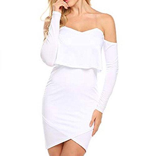 Robes Élégantes, Femmes Tunique Tête Tenue Décontractée Solide Du Bal À Manches Longues Épaule Mini-robes Blanches