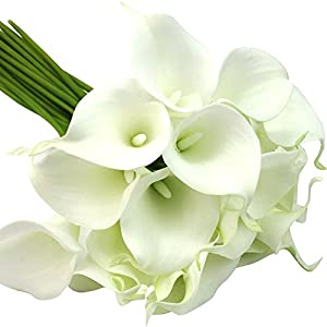 """Eforstore New 13"""" Mini Calla Lily Bridal Wedding Bouquet Head Latex Real Touch Flower Bouquets Artificial Flowers (10pcs, White) 38"""