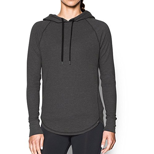 Under Armour Women's Waffle Hoodie, Carbon Heather/Black, Small