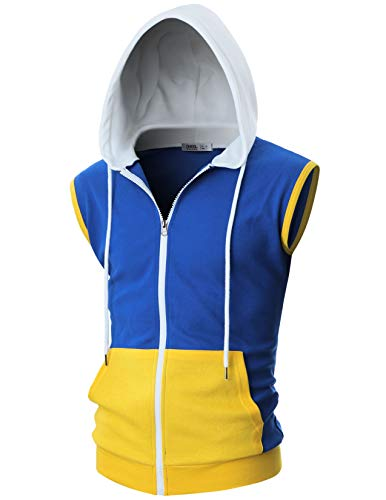 OHOO Mens Slim Fit Sleeveless Lightweight Zip-up Costume Hooded Vest with Single Slide Zipper/DCF052-BLUE/WHITE-2XL